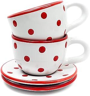 Untertasse für Kaffeetasse rot weiß Punkte Dots Porzellan Kaffeeservice