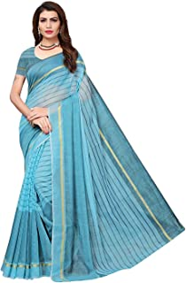 Florence cotton with blouse piece Saree (FL-IF-Rustom Firozi_New_ Turquoise_ OS)
