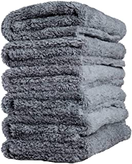 Adam's Borderless Grey Edgeless Microfiber Towel - Premium Quality 480gsm, 16 x 16 inches Plush Microfiber - Delicate Touch for The Most Delicate Surfaces (6 Pack)