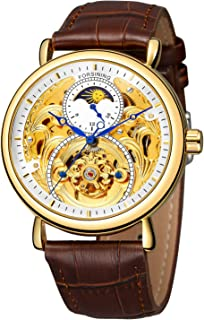 FORSINING Men Automatic Watches Tourbillon Skeleton Watch Moon Phase Wrist Watch White and Gold