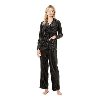 LAUREN Ralph Lauren Velvet Long Sleeve Notch Collar Pajama Set (Black) Women