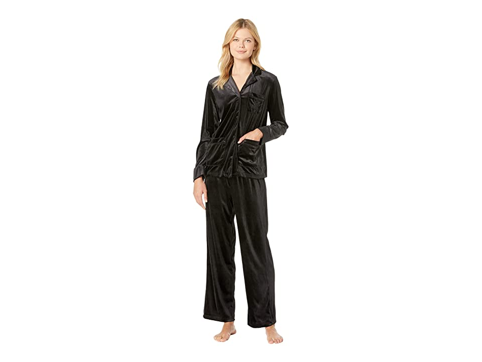 LAUREN Ralph Lauren Velvet Long Sleeve Notch Collar Pajama Set (Black) Women