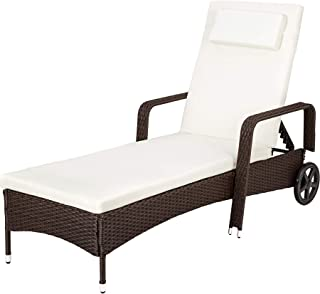 TecTake Tumbona chaise longue de poli ratán tumbona de jard