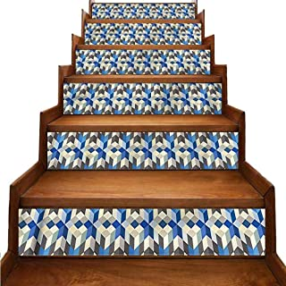 JiuYIBB Abstract Self-Adhesive Stairs Stickers 3D Cube Modern Art Eco-Friendly PVC