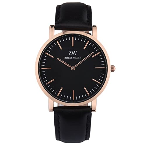 3da37f85784 Zeiger Mens Women Watches Black Dial Analog Quartz White Dial Watch with  Leather Band Black Fashion