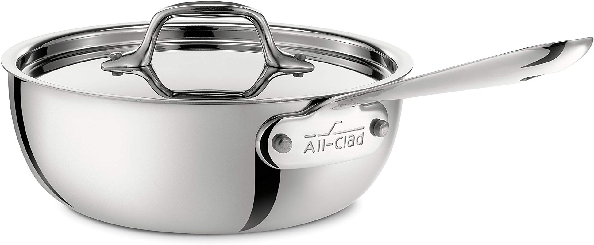 All Clad 4213 Stainless Steel Tri Ply Bonded Dishwasher Safe Saucier Pan With Lid Cookware 3 Quart Silver