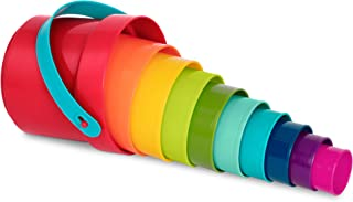 Battat – Stacking Cups – 10 pcs – Plastic Nesting Toys – Bucket with Carry Handle – Water & Sand – Colorful Toy Set for To...