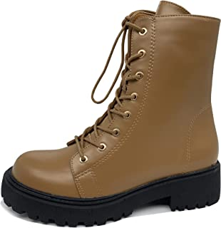 Sponsored Ad - WuORWu Women's Lace Up Black Combat Boots Shoes