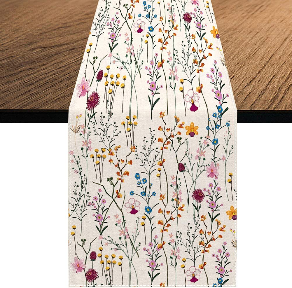 Watercolor Wild Flowers Table Runner, Seasonal Summer Colorful Flowers Holiday Kitchen Dining Table Decoration for Home Party Decor 13 x 70 Inch