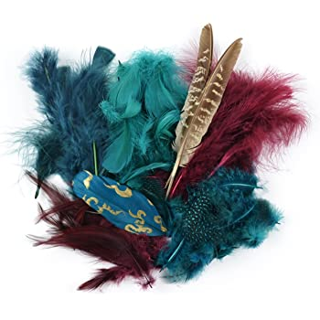 Touch of Nature 38992 Packed Feather Assortment for Arts and Crafts, 7gm, Teal/Wood/Jasper