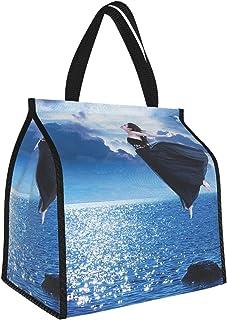 Y-shop Modern Decor Ocean Sea Life Surreal Art Work of Flying Girl Image Light Blue Dark Blue and Turquoise Picnic Freezer...