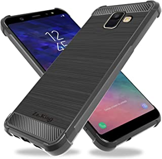 ZeKing Galaxy A6 2018 Case, Brushed Texture Soft TPU Carbon Fiber Shock Resistant Phone case Anti-Scratch Flexible Full-Body Protective Cover for Samsung Galaxy A6 (2018) (Black)