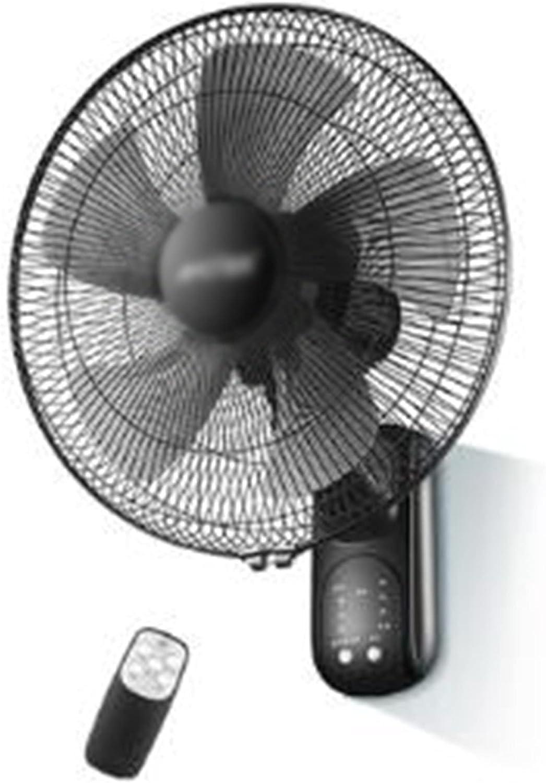 Ventilador de Pared, Dormitorio en Casa, Oficina, Dormitorio, Cafetería, Taller, Control Remoto de Tres Velocidades, Ventilador de Cabeza con Movimiento Silencioso, Potencia 60 W/Negro /