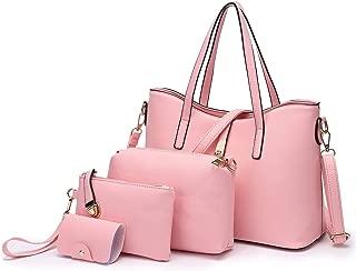TIBES Fashion Women's PU Leather Handbag Shoulder Bag Purse Card Holder 4pcs Set Tote