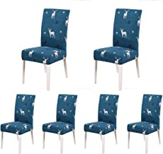 SoulFeel Set of 6 Stretch Chair Covers for Dining Room, Removable Fitted Seat Slipcovers Protector (Style 62, Reindeer in Snow)