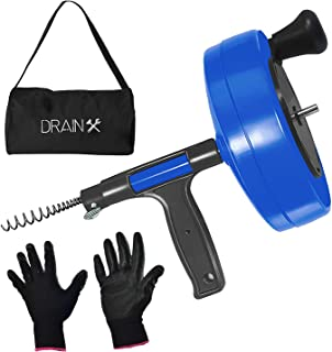 DrainX Power Pro 35-FT Steel Drum Auger Plumbing Snake with Drill Adapter | Heavy Duty Drain Snake Cable with Work Gloves and Storage Bag- Blue.