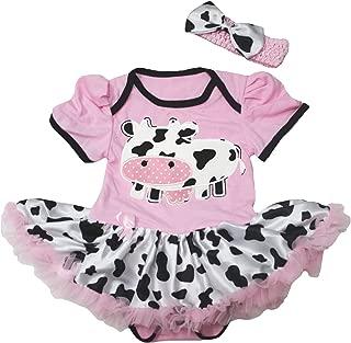 Dairy Cow Pink Bodysuit Cow Tutu Baby Dress Nb-18m