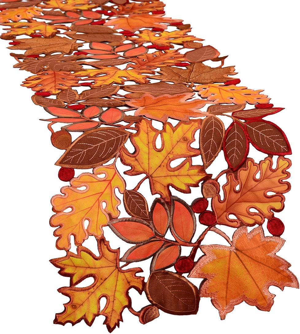 Simhomsen Award-winning store Embroidered Leaves Table Cash special price for Thanksgiving Runner Autu