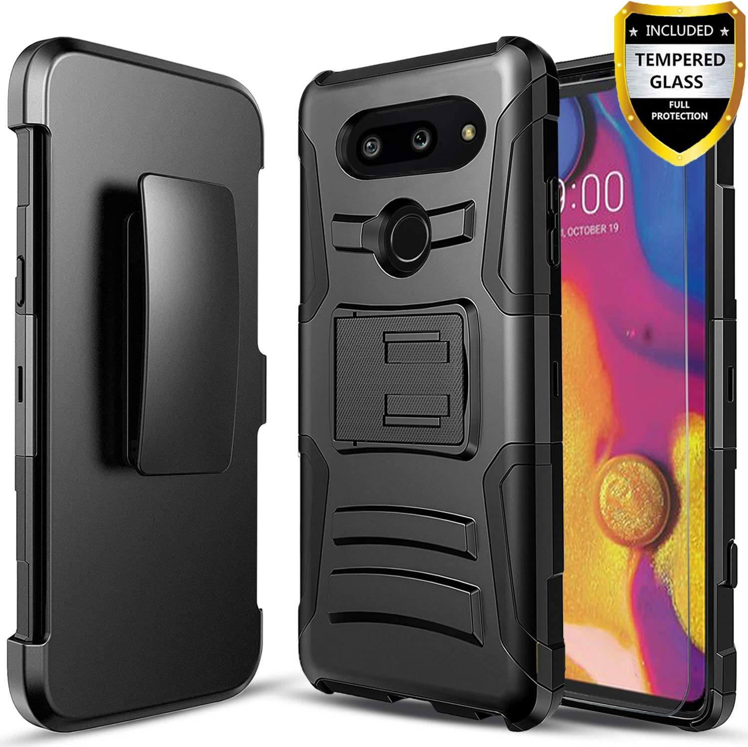 LG G8 ThinQ Case, with [Tempered Glass Screen Protector Included], Circlemalls Built-in Kickstand Belt Clip Holster Heavy Duty Protective Phone Cover Bundled and Stylus Pen-Black