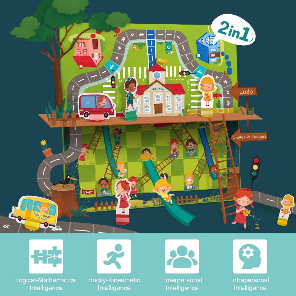 ANIKI TOYS Ajedre Volador y Toboganes y Escaleras Juego de Mesa - 2 en 1 Conocimiento del tráfico Ajedrez y Comportamiento Personalizado Ajedrez: Amazon.es: Juguetes y juegos