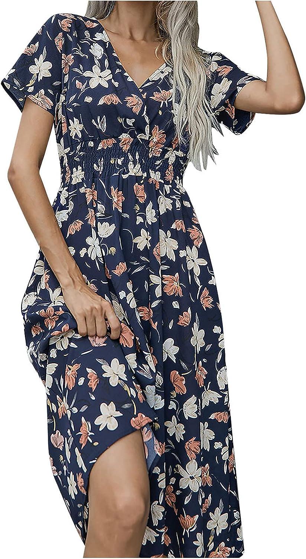 wodceeke Women's Floral Print Slim Long Dress, Short Sleeve Summer Skirt Vintage Casual Sundresses V Neck Dresses