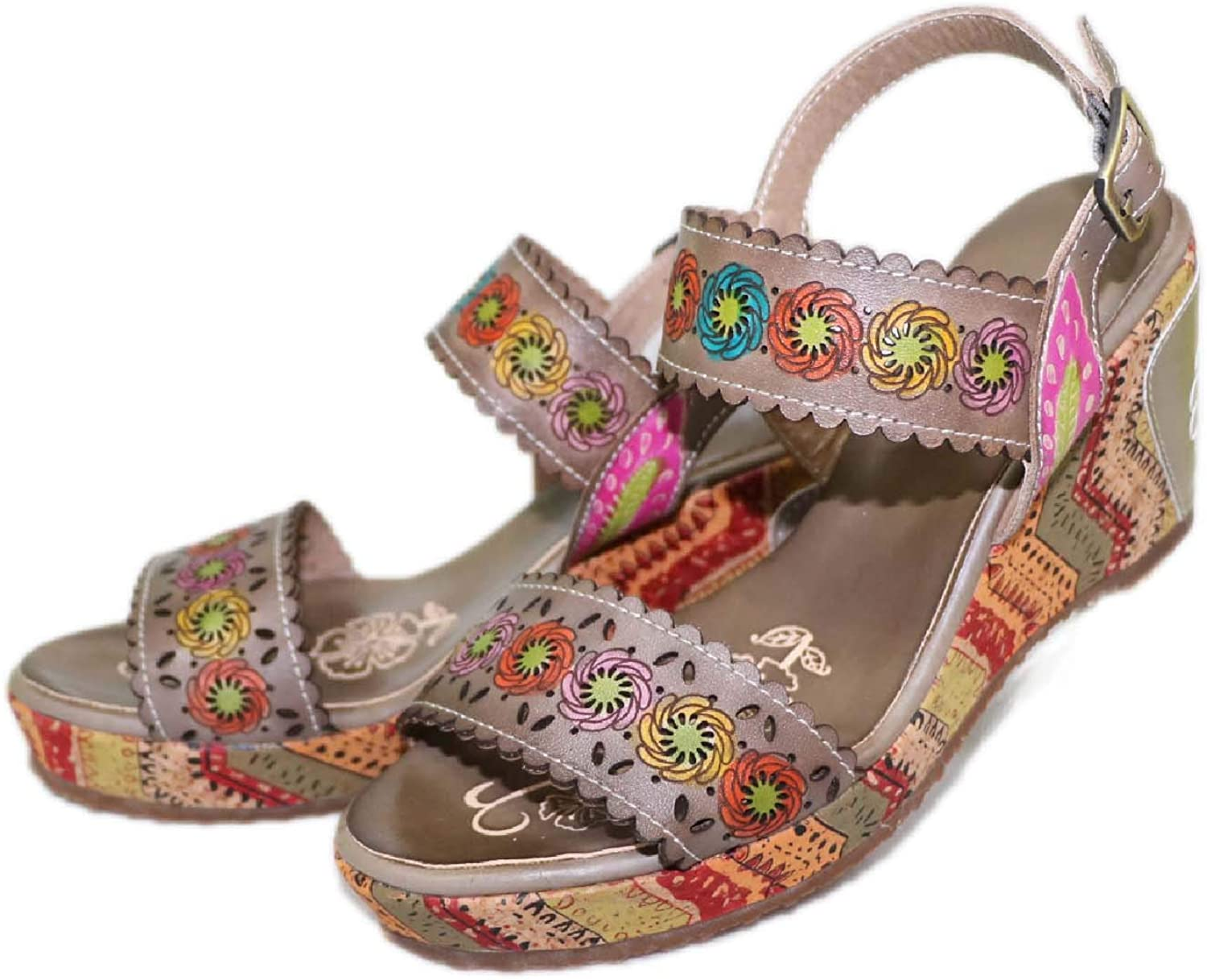 CrazycatZ Womens Leather Hand Painted Fashion Wedged Sandals Floral Sandals