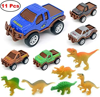 MoraBaby Dinosaur Toys, 5 Piece Die Cast Pull Back Dino Car and 6 Piece Dinosaurs Playset, Perfect Birthday for 3 4 5 6 7 Year Old Boys Kids