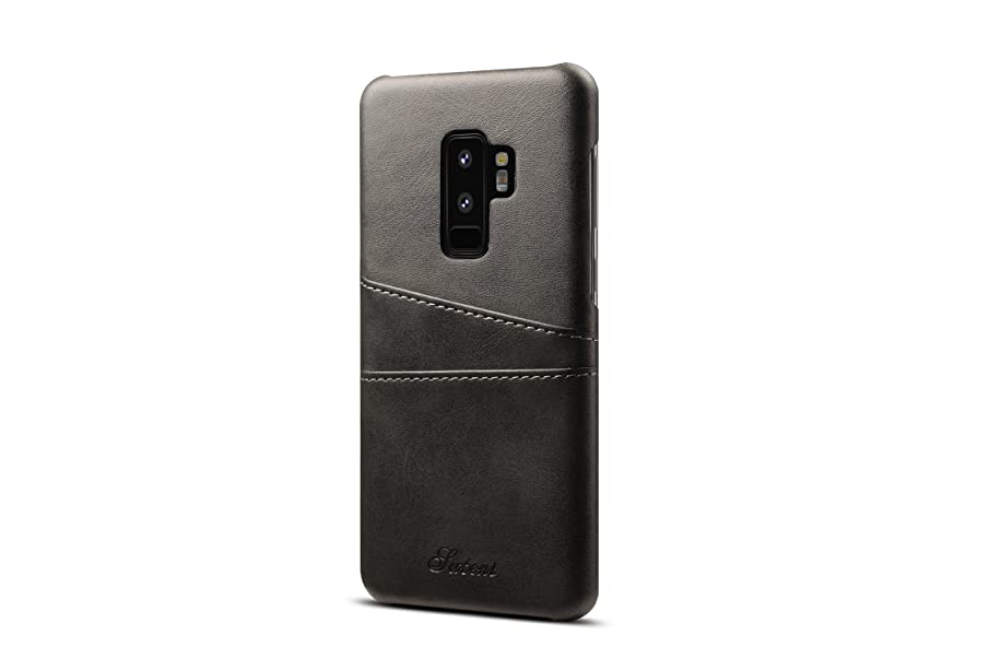 Galaxy S9 Plus Leather Case,TACOO Super Slim Fit Soft Pu Protective Two Credit Card Slots Ultra Thin Phone Back Cover for Samsung Galaxy S9P S9+ 2018-Black