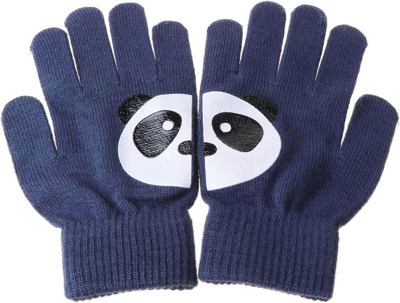 Women Winter Gloves Warm Knit Full Finger Thermal Gloves Cartoon Panda Irregular Stretchy Mittens
