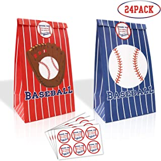 24 Packs Baseball Goodie Candy Treat Bags Baseball Party Gift Bags with Thank You Stickers for Kids Sports Theme Birthday Party Decorations MLB Game Celebration Supplies