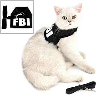 Zunea Pet Cat Harness and Leash Set Escape Proof for Walking, Adjustable Soft Mesh Padded FBI Puppy Vest Harnesses Step in Easy to Put On for Kitten Small Dog Boy Black