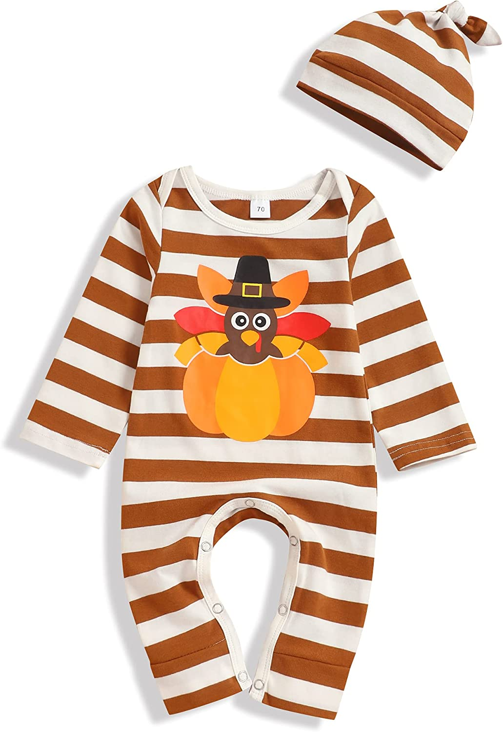 Baby Boy Girl Thanksgiving Outfits Turkey Print Stripe Boysuit Romper Baby Boy Girl Thanksgiving Clothes Set