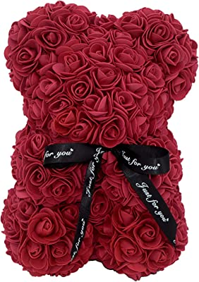 Rose Bear- Hand Made Artificial PE Foam Rose Teddy Bear - Gift for Mothers Day, Valentines Day , Bridal Showers Weddings Clear Gift Box 10 inch (Burgundy)