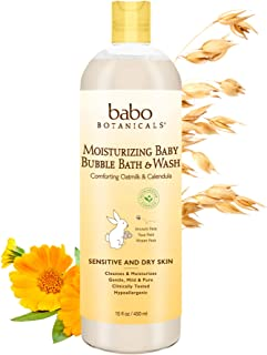 Babo Botanicals Moisturizing Baby 2-in-1 Bubble Bath & Wash with Natural Oatmilk and Organic Calendula, Oatmilk & Calendul...