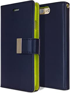 Goospery Rich Wallet for Apple iPhone 8 Plus Case (2017) iPhone 7 Plus Case (2016) Extra Card Slots Leather Flip Cover (Navy) IP7P-RIC-NVY