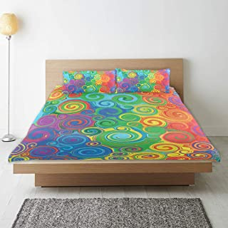 LONSANT Duvet Cover Set, Abstract Rainbow Colored Curved Stripes Swirls and Shapes Pattern Vibrant Colors Print, Decorative 3Pc Bedding Sets with 2 Pillow Shams King Size