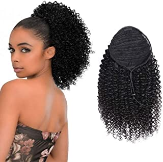 Ponytail Extension Kinky Curly Hair 100% Human Hair Ponytail Drawstring Ponytail Extensions Natural Black 1B for Women Clip in on Ponytail Hair Extensions 12 Inches