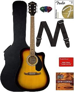 Fender FA-125CE Dreadnought Cutaway Acoustic-Electric Guitar - Sunburst Bundle with Hard Case, Strap, Strings, Picks, Fender Play Online Lessons, and Austin Bazaar Instructional DVD