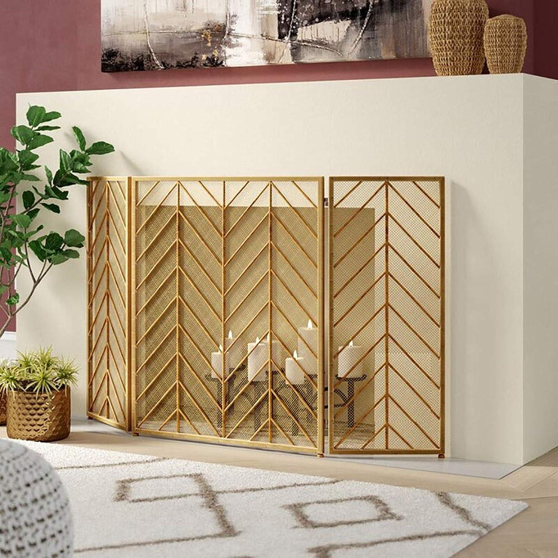 ビジョン真珠のようなアシュリータファーマンZLI 暖炉スクリーン ゴールド3パネル暖炉スクリーン、屋外鍛造鉄金属装飾メッシュ、赤ちゃんの安全な証拠暖炉場所パネル、保存が簡単 (Color : Gold)