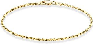 دستبند مچ پا طناب زنجیره ای مچ پا با طناب الماس برش خورده طلای نقره ای 18K طلای Miabella برای زنان دختر نوجوان 9 ، 10 اینچ 925 ساخت ایتالیا
