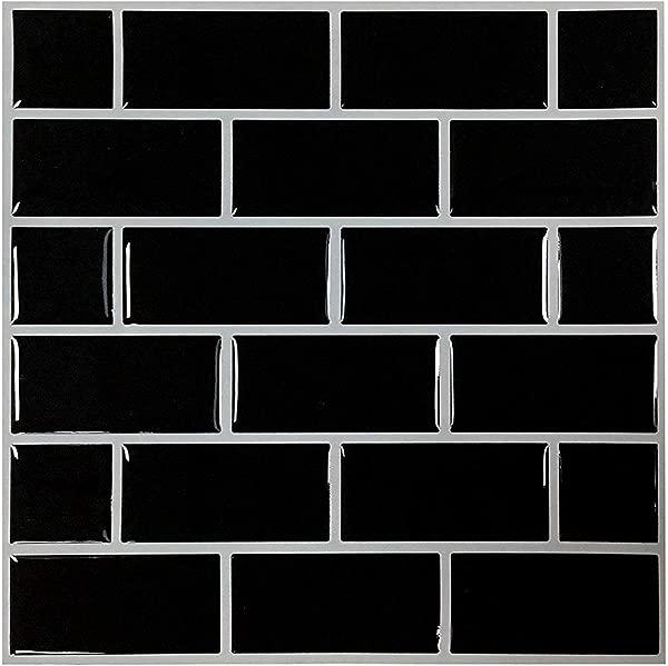 Remarkable Self Adhesive Backsplash Premium Anti Mold Peel And Stick Wall Tile For Kitchen Black Decorative Tile Stickers 9 X 9 10 Sheets
