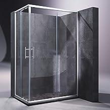 Cabina de Ducha Mampara de Ducha Rectangular Puerta Corredera Cristal Templado 5 MM 120x80x190cm