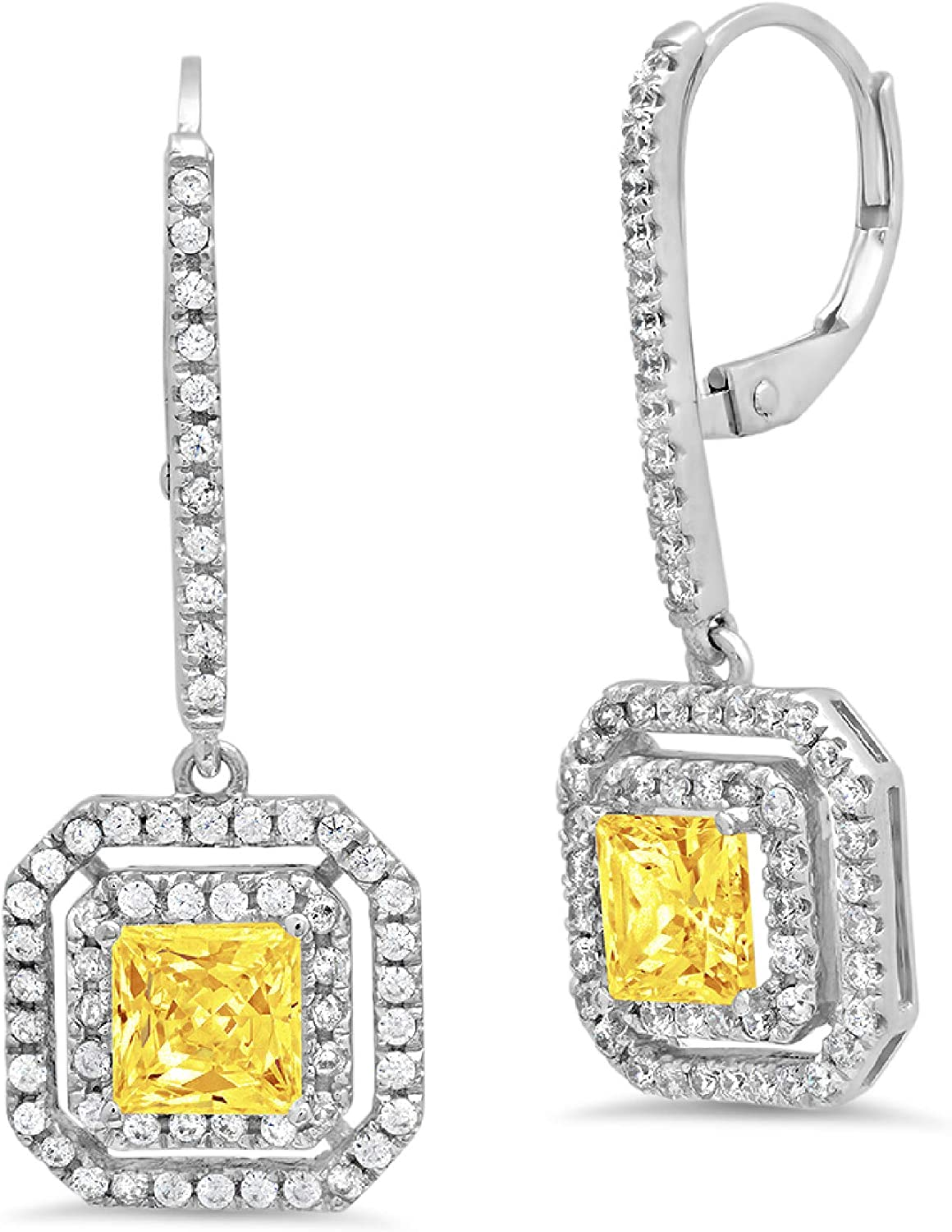 3.21cttw Princess Round Cut Double Halo Solitaire Genuine Canary Yellow CZ Designer Lever back Drop Dangle Earrings Solid 14k White Gold