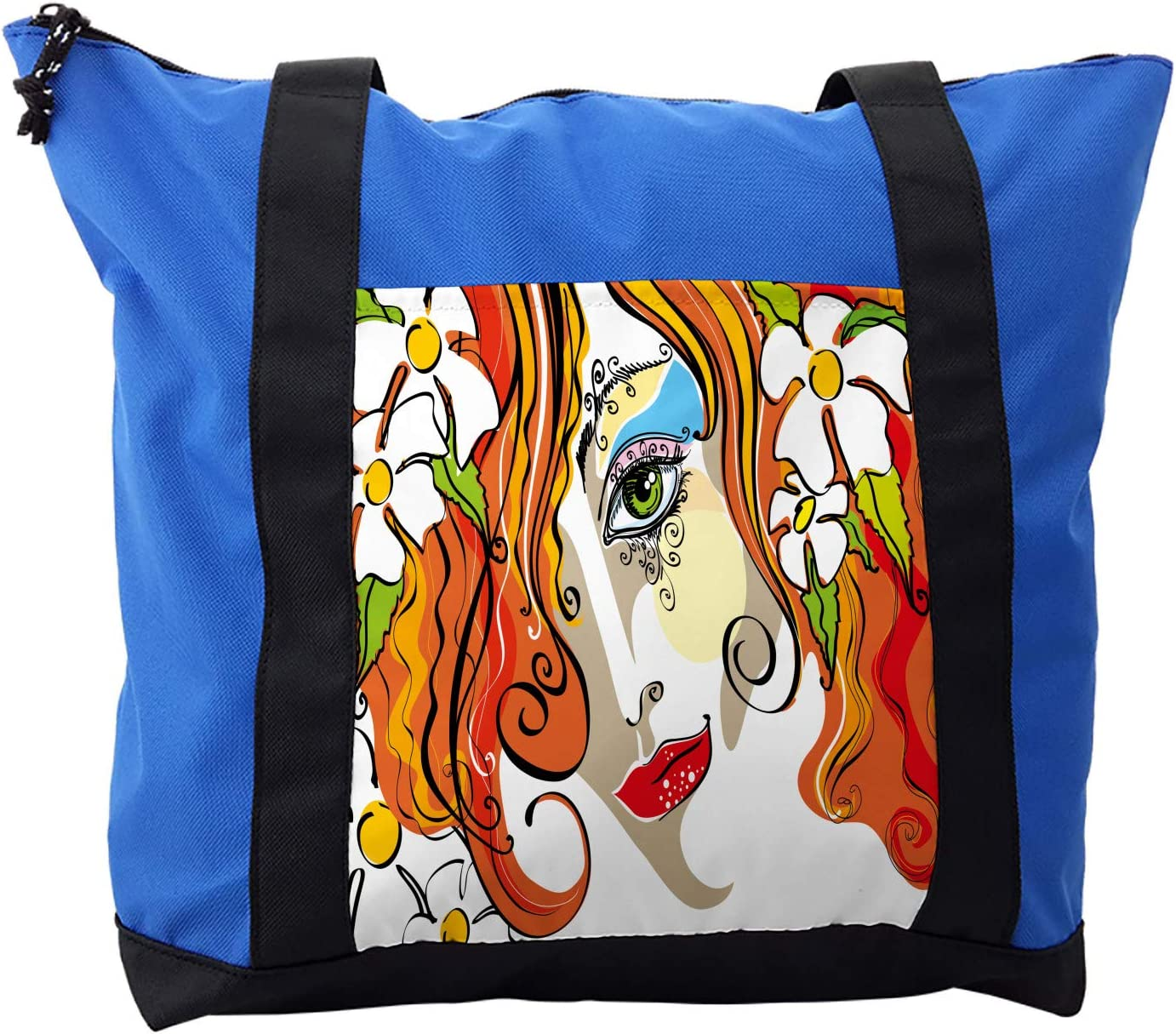 Ambesonne Abstract Shoulder Bag, Woman Red Hair Floral, Durable with Zipper