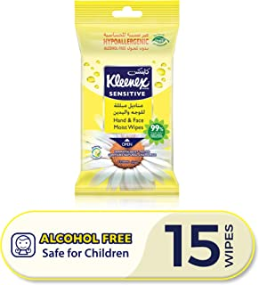 Kleenex Sensitive Hand and Face Wipes - Single Pack, 15 Hand and Face Moist Wipes