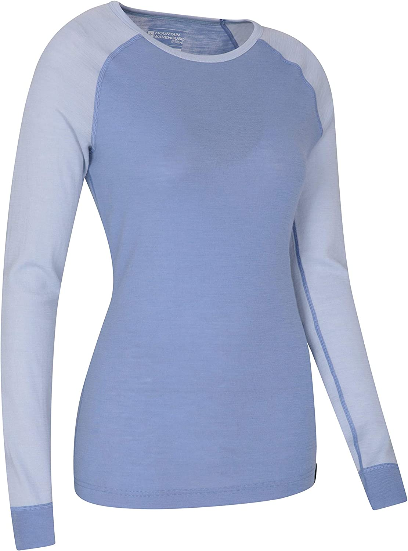 Leichtes antibakterielle Bluse F/ür Urlaub bei kaltem Wetter Winter Baselayer atmungsaktives Damen-T-Shirt Mountain Warehouse Merino Baselayer-Thermotop f/ür Damen