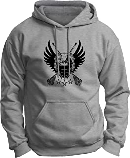 ThisWear Lacrosse Jolly Roger Crossed Lacrosse Sticks Premium Hoodie Sweatshirt
