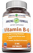 Amazing Nutrition Vitamin B6 Dietary Supplement – 25 mg, 250 Tablets (Non-GMO,Gluten Free) – Supports Healthy Nervous Syst...