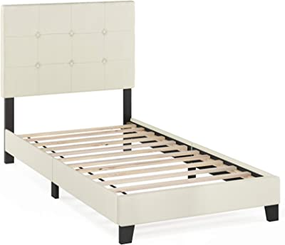 FURINNO Laval Button Tufted Upholstered Platform Bed - Twin (Linen)
