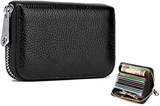 Genuine Leather Credit Bank VIP Business Card Holder Zipper Wallet With 12 Card Slots for Man And lady, Black Colour…